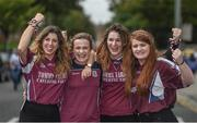 3 September 2017; Galway supporters, left to right, Niamh Herney, Emily Burke, Sinéad Harte, Niamh Badger, from Turloughmore, Co Galway, ahead of the GAA Hurling All-Ireland Senior Championship Final match between Galway and Waterford at Croke Park in Dublin. Photo by Daire Brennan/Sportsfile