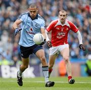 3 June 2012; Craig Dias, Dublin, in action against Paddy Keenan, Louth. Leinster GAA Football Senior Championship Quarter-Final, Louth v Dublin, Croke Park, Dublin. Picture credit: Stephen McCarthy / SPORTSFILE