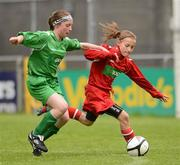 5 June 2012; Rachel Baynes, left, Holy Family NS, Newport, Co. Mayo, in action against Bethany Carroll, Piltown NS, Co. Waterford. An Post FAI Primary Schools 5-a-Side All-Ireland Finals, Tallaght Stadium, Tallaght, Dublin. Picture credit: Barry Cregg / SPORTSFILE