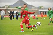 5 June 2012; Shane Doyle, left, St. Colmcille's NS, Templemore, Co. Tipperary, in action against Daniel Brennan, Brierhill NS, Co. Galway. An Post FAI Primary Schools 5-a-Side All-Ireland Finals, Tallaght Stadium, Tallaght, Dublin. Picture credit: Barry Cregg / SPORTSFILE