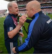 3 September 2017; Galway manager Micheál Donoghue shakes hands with Waterford manager Derek McGrath after the final whistle of the GAA Hurling All-Ireland Senior Championship Final match between Galway and Waterford at Croke Park in Dublin. Photo by Seb Daly/Sportsfile