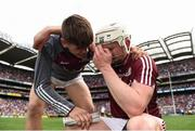 3 September 2017; Joe Canning of Galway celebrates with his nephew Jack, who played in the minor game, after the GAA Hurling All-Ireland Senior Championship Final match between Galway and Waterford at Croke Park in Dublin. Photo by Eóin Noonan/Sportsfile