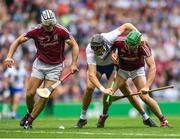 3 September 2017; Maurice Shanahan of Waterford in action against, from left, Daithí Burke and Adrian Tuohy of Galway during the GAA Hurling All-Ireland Senior Championship Final match between Galway and Waterford at Croke Park in Dublin. Photo by Eóin Noonan/Sportsfile
