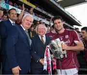 3 September 2017; President of Ireland Michael D. Higgins with Taoiseach Leo Varadkar and GAA President Aogán Ó Fearghaíl and the Galway captain David Burke after the presentation of the Liam MacCarthy Cup following the GAA Hurling All-Ireland Senior Championship Final match between Galway and Waterford at Croke Park in Dublin. Photo by Ray McManus/Sportsfile