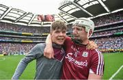 3 September 2017; Joe Canning of Galway celebrates with his nephew Jack, who played in the minor game, following the GAA Hurling All-Ireland Senior Championship Final match between Galway and Waterford at Croke Park in Dublin. Photo by Ramsey Cardy/Sportsfile