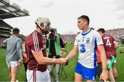 3 September 2017; Galway's Joe Canning shakes hands with Austin Gleeson of Waterford following the GAA Hurling All-Ireland Senior Championship Final match between Galway and Waterford at Croke Park in Dublin. Photo by Ramsey Cardy/Sportsfile