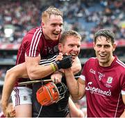 3 September 2017; Galway players, from left, Conor Whelan, James Skehill and Gearóid McInerney celebrate following the GAA Hurling All-Ireland Senior Championship Final match between Galway and Waterford at Croke Park in Dublin. Photo by Sam Barnes/Sportsfile