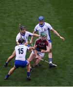 3 September 2017; Cathal Mannion of Galway in action against Waterford players, left to right, Darragh Fives, Jamie Barron, and Austin Gleeson, during the GAA Hurling All-Ireland Senior Championship Final match between Galway and Waterford at Croke Park in Dublin. Photo by Daire Brennan/Sportsfile
