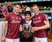 3 September 2017; Margaret Keady with the Liam MacCarthy Cup and Galway captain, David Burke , left, and Joe Canning after  the GAA Hurling All-Ireland Senior Championship Final match between Galway and Waterford at Croke Park in Dublin. Photo by Ray McManus/Sportsfile