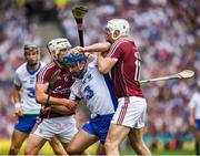 3 September 2017; Michael Walsh of Waterford in action against Joe Canning, 11, and Gearóid McInerney of Galway  during the GAA Hurling All-Ireland Senior Championship Final match between Galway and Waterford at Croke Park in Dublin. Photo by Ray McManus/Sportsfile