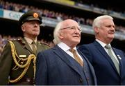 3 September 2017; Uachtarán na hÉireann Michael D Higgins, centre, and Uachtarán Chumann Lúthchleas Gael Aogán Ó Fearghail, right, prior to the GAA Hurling All-Ireland Senior Championship Final match between Galway and Waterford at Croke Park in Dublin. Photo by Seb Daly/Sportsfile