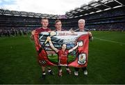 3 September 2017; Joe Canning, Conor Whelan and Galway kit manager James 'Tex' Callaghan following the GAA Hurling All-Ireland Senior Championship Final match between Galway and Waterford at Croke Park in Dublin. Photo by Stephen McCarthy/Sportsfile