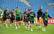 9 June 2012; Republic of Ireland players, from left to right, John O'Shea, Keith Andrews, Kevin Doyle, Robbie Keane, Richard Dunne and Damien Duff in action during squad training ahead of their opening UEFA EURO 2012, Group C, game against Croatia on Sunday. Republic of Ireland EURO2012 Squad Training, Municipal Stadium Poznan, Poznan, Poland. Picture credit: David Maher / SPORTSFILE