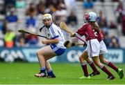 3 September 2017; Sadhbh Buttle of Ballyellis National School, Gorey, Co Wexford, representing Waterford, in action against Alex Hodgins of Presentation Primary School, Terenure Road, Dublin, representing Galway, and Laura Maguire of Scoil Chlann Naofa, Ballinamore, Co Leitrim,  representing Galway, during the INTO Cumann na mBunscol GAA Respect Exhibition Go Games at Galway v Waterford - GAA Hurling All-Ireland Senior Championship Final at Croke Park in Dublin. Photo by Sam Barnes/Sportsfile