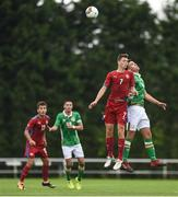 4 September 2017; Warren O'Hora of Republic of Ireland in action against Ladislav Krejcí of Czech Republic during the Under 19 International Friendly match between Republic of Ireland and Czech Republic at RSC in Waterford. Photo by Seb Daly/Sportsfile