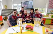 4 September 2017; Galway hurlers, from left, Colm Callanan, Darren Morrissey, minor winner, Joe Canning, behind, manager Micheál Donoghue, David Burke and Joseph Cooney with Conor Murray, age 10, from Ballymacward, Co Galway, during the All-Ireland Hurling Champions visit to Our Lady's Children's Hospital in Crumlin, Dublin. Photo by Piaras Ó Mídheach/Sportsfile
