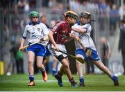 3 September 2017; Tommy McKeon of Kilskyre National School, Kells, Co Meath, representing Galway, in action against Steven McDonnell of St Patrick's PS, Loughgall Rd, Co Armagh, representing Waterford, during the INTO Cumann na mBunscol GAA Respect Exhibition Go Games at Galway v Waterford - GAA Hurling All-Ireland Senior Championship Final at Croke Park in Dublin. Photo by Seb Daly/Sportsfile
