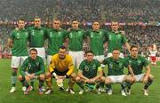 10 June 2012; The Republic of Ireland team, back row, from left top right, Sean St. Ledger, John O'Shea, Richard Dunne, Stephen Ward, Keith Andrews and Glenn Whelan. Front row, from left to right, Aiden McGeady, Shay Given, Robbie Keane, Damien Duff and Kevin Doyle. EURO2012, Group C, Republic of Ireland v Croatia, Municipal Stadium Poznan, Poznan, Poland. Picture credit: David Maher / SPORTSFILE