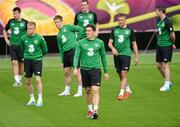11 June 2012; Republic of Ireland's Keith Andrews, centre, with players, from left to right, Sean St. Ledger, Damien Duff, Kevin Doyle, John O'Shea, Jonathan Walters and Stephen Ward during squad training ahead of their UEFA EURO 2012, Group C, game against Spain on Thursday. Republic of Ireland EURO2012 Squad Training, Municipal Stadium Gdynia, Poland. Picture credit: David Maher / SPORTSFILE