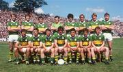 1 July 1984; The Kerry team against Cork, back row, from left, Jack O'Shea, Tom Spillane, Mikey Sheehy, Charlkie Nelligan, Willie Maher, Ger Lynch, Pat Spillane, Sean Walsh. Fromt, from left, Eoin Liston, Tommy Doyle, Paidi O'Se, Ambrose O'Donovan, Ger Power, Mick Spillane and John Kennedy. Munster Football Final, Kerry v Cork, Fitzgerald Stadium, Killarney, Co. Kerry. Football. Picture credit; Ray McManus / SPORTSFILE