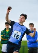 19 August 2017; Sam Vines of Shankhill, Co Dublin, competing in the Boys U14 and O12 Shot Put event during day 1 of the Aldi Community Games August Festival 2017 at the National Sports Campus in Dublin. Photo by Sam Barnes/Sportsfile
