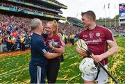 3 September 2017; Galway manager Micheál Donoghue  with Shannon Keady, daughter of Tony, after the GAA Hurling All-Ireland Senior Championship Final match between Galway and Waterford at Croke Park in Dublin. Photo by Ramsey Cardy/Sportsfile
