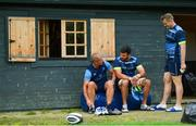 4 September 2017; Leinster senior coach Stuart Lancaster with Mick Kearney and Jamie Heaslip during squad training at UCD in Dublin. Photo by Ramsey Cardy/Sportsfile