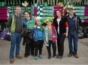 5 September 2017; Republic of Ireland supporters, from left to right, Tom Galbraith, Melissa Galbraith, Lorcan Galbraith, age 8, Stephen Newton age 8, Jacinta Newton and Brian Newton, all from Tullamore, Co Offaly, prior to the Group D match between Republic of Ireland and Serbia at the Aviva Stadium in Dublin. Photo by Seb Daly/Sportsfile