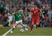 5 September 2017; Wes Hoolahan of Republic of Ireland in action against Filip Kostic of Serbia during the FIFA World Cup Qualifier Group D match between Republic of Ireland and Serbia at the Aviva Stadium in Dublin. Photo by Seb Daly/Sportsfile