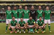 5 September 2017; The Republic of Ireland team, back row, from left to right, James McClean, Cyrus Christie, Shane Duffy, Stephen Ward, Cyrus Christie, David Meyler and Ciaran Clark. Front row, from left to right, Robbie Brady, Wes Hoolahan, Jonathan Walters and Shane Long the FIFA World Cup Qualifier Group D match between Republic of Ireland and Serbia at the Aviva Stadium in Dublin. Photo by David Maher/Sportsfile