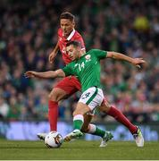 5 September 2017; Wes Hoolahan of Republic of Ireland in action against Nemanja Matic of Serbia during the FIFA World Cup Qualifier Group D match between Republic of Ireland and Serbia at the Aviva Stadium in Dublin. Photo by Brendan Moran/Sportsfile