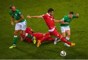 5 September 2017; Wes Hoolahan, right, and David Meyler of Republic of Ireland in action against Luka Milivojevic of Serbia during the FIFA World Cup Qualifier Group D match between Republic of Ireland and Serbia at the Aviva Stadium in Dublin. Photo by Stephen McCarthy/Sportsfile