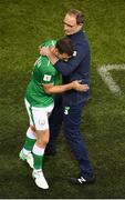 5 September 2017; Wes Hoolahan of Republic of Ireland shakes hands with manager Martin O'Neill after he was substituted in the second half during the FIFA World Cup Qualifier Group D match between Republic of Ireland and Serbia at the Aviva Stadium in Dublin. Photo by Stephen McCarthy/Sportsfile