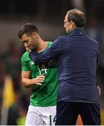 5 September 2017; Wes Hoolahan of Republic of Ireland shakes hands with manager Martin O'Neill after he was substituted in the second half during the FIFA World Cup Qualifier Group D match between Republic of Ireland and Serbia at the Aviva Stadium in Dublin. Photo by Brendan Moran/Sportsfile