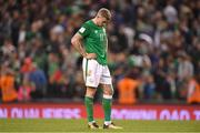 5 September 2017; James McClean of Republic of Ireland reacts after the FIFA World Cup Qualifier Group D match between Republic of Ireland and Serbia at the Aviva Stadium in Dublin. Photo by Brendan Moran/Sportsfile