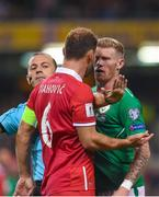 5 September 2017; James McClean of the Republic of Ireland has words with against Branislav Ivanovic of Serbia during the FIFA World Cup Qualifier Group D match between Republic of Ireland and Serbia at the Aviva Stadium in Dublin. Photo by Matt Browne/Sportsfile