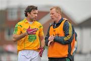 3 June 2012; Leitrim's James Glancy in conversation with joint manager George Dugdale before the game. Connacht GAA Football Senior Championship Quarter-Final, London v Leitrim, Emerald Park, Ruislip, London. Picture credit: Diarmuid Greene / SPORTSFILE