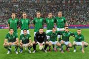 14 June 2012; The Republic of Ireland team, back row from left to right, Sean St. Ledger, Glenn Whelan, Richard Dunne, Stephen Ward and John O'Shea. Front row, from left to right, Keith Andrews, Robbie Keane, Shay Given, Aiden McGeady, Simon Cox and Damien Duff. EURO2012, Group C, Spain v Republic of Ireland, Arena Gdansk, Gdansk, Poland. Picture credit: David Maher / SPORTSFILE