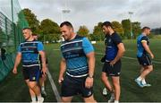 6 September 2017; Leinster's Andrew Porter, Cian Healy and Robbie Henshaw ahead of the first home game in the Guinness PRO14 on Friday evening in the RDS Arena against Cardiff Blues, kick off 7.35pm, Leinster Rugby gave behind the scenes access to one of their training days in UCD. Pictured at Leinster Rugby Headquarters in Dublin. Photo by Ramsey Cardy/Sportsfile