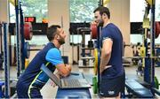 6 September 2017; Leinster's Jamison Gibson-Park and Robbie Henshaw Ahead of the first home game in the Guinness PRO14 on Friday evening in the RDS Arena against Cardiff Blues, kick off 7.35pm, Leinster Rugby gave behind the scenes access to one of their training days in UCD. Pictured at Leinster Rugby Headquarters in Dublin. Photo by Ramsey Cardy/Sportsfile