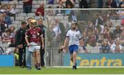 3 September 2017; Tommy McKeon of Kilskyre National School, Kells, Co Meath, representing Galway, and Steven McDonnell of St Patrick's PS, Loughgall Rd, Co Armagh, representing Waterford, during the INTO Cumann na mBunscol GAA Respect Exhibition Go Games at Galway v Waterford - GAA Hurling All-Ireland Senior Championship Final at Croke Park in Dublin. Photo by Piaras Ó Mídheach/Sportsfile