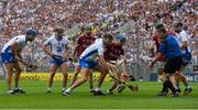 3 September 2017; Referee Fergal Horgan throws the ball in between Maurice Shanahan of Waterford and Conor Cooney of Galway during the GAA Hurling All-Ireland Senior Championship Final match between Galway and Waterford at Croke Park in Dublin. Photo by Piaras Ó Mídheach/Sportsfile