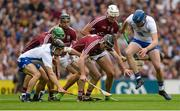 3 September 2017; Jamie Barron, left, and Austin Gleeson of Waterford in action against Galway's, from left, David Burke, Aidan Harte, Padraic Mannion and Gearóid McInerney during the GAA Hurling All-Ireland Senior Championship Final match between Galway and Waterford at Croke Park in Dublin. Photo by Piaras Ó Mídheach/Sportsfile
