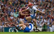 3 September 2017; Tadhg de Búrca of Waterford jumps over team-mate Philip Mahony as he gets away from Cathal Mannion and Jonathan Glynn of Galway during the GAA Hurling All-Ireland Senior Championship Final match between Galway and Waterford at Croke Park in Dublin. Photo by Piaras Ó Mídheach/Sportsfile