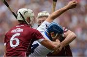 3 September 2017; Michael Walsh of Waterford is tackled by Gearóid McInerney, left, and Joe Canning of Galway during the GAA Hurling All-Ireland Senior Championship Final match between Galway and Waterford at Croke Park in Dublin. Photo by Piaras Ó Mídheach/Sportsfile