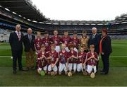 3 September 2017; President of the INTO John Boyle, President of Cumann na mBunscoil Liam McGee, Uachtarán Chumann Lúthchleas Gael Aogán Ó Fearghaíl, President of the Camogie Association Catherine Neary, with the Galway team team, back row, left to right, Joshua Ryan of Scoil Mhuire, Clarinbridge, Co Galway, Paul Daly of St Patrick's BNS, Drumcondra, Co Dublin, Brian Noone of St. Mary's National School, Ballinasloe, Co Galway, Tommy McKeon of Kilskyre National School, Kells, Co Meath, Barry Egan of St. Francis Boys National School, Clara, Co Offaly, referee Michael O'Driscoll, from Glenville National School, Glenville, Co Cork, front row, left to right, Donal Gallagher of Stramore National School, Letterkenny, Co Donegal, Ronan Courtney of St. Mary's National School, Edgeworthstown, Co Longford, Tom O'Flaherty of Aghamore National School, Ballyhaunis, Co Mayo, Fionn Keating McDermott of St Colmcilles SNS, Knocklyon, Co Dublin, Conan McPhillips of Tattygar PS, Lisbellaw, Co Fermanagh, Éanna Ó hAilpín of Scoil Rois, Carrickmacross, Co Monaghan, ahead of the GAA Hurling All-Ireland Senior Championship Final match between Galway and Waterford at Croke Park in Dublin. Photo by Daire Brennan/Sportsfile