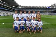 3 September 2017; The Waterford team team, back row, left to right, Fintan Brady of St. Brigid's PS, Ballymena, Co Antrim, Fiachra O'Connor of Ardfert National School, Ard Fhearta, Co Kerry, Niall Carrigg of Ballyea N.S., Co Clare, Shea Pucci of St Patrick's, Newtownards, Co Down, Steven McDonnell of St Patrick's PS, Loughgall Rd, Co Armagh, referee Michael O'Driscoll, from Glenville National School, Glenville, Co Cork, front row, left to right, William Dore of Bruree National School, Bruree, Co Limerick, Jack Breen of Paddock National School, Portlaoise, Co Laois, Ryan Sinkey of St Corbans Boys National School, Naas, Co Kildare, Billy Dowling of St Aidens National School, Kilmanagh, Co Kilkenny, Colin Quaid of Shandrum National School, Charleville, Co Cork, ahead of the GAA Hurling All-Ireland Senior Championship Final match between Galway and Waterford at Croke Park in Dublin. Photo by Daire Brennan/Sportsfile