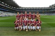 3 September 2017; The Galway team team, back row, left to right, Joshua Ryan of Scoil Mhuire, Clarinbridge, Co Galway, Paul Daly of St Patrick's BNS, Drumcondra, Co Dublin, Brian Noone of St. Mary's National School, Ballinasloe, Co Galway, Tommy McKeon of Kilskyre National School, Kells, Co Meath, Barry Egan of St. Francis Boys National School, Clara, Co Offaly, referee Michael O'Driscoll, from Glenville National School, Glenville, Co Cork, front row, left to right, Donal Gallagher of Stramore National School, Letterkenny, Co Donegal, Ronan Courtney of St. Mary's National School, Edgeworthstown, Co Longford, Tom O'Flaherty of Aghamore National School, Ballyhaunis, Co Mayo, Fionn Keating McDermott of St Colmcilles SNS, Knocklyon, Co Dublin, Conan McPhillips of Tattygar PS, Lisbellaw, Co Fermanagh, Éanna Ó hAilpín of Scoil Rois, Carrickmacross, Co Monaghan, ahead of the GAA Hurling All-Ireland Senior Championship Final match between Galway and Waterford at Croke Park in Dublin. Photo by Daire Brennan/Sportsfile