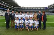 3 September 2017; President of the INTO John Boyle, President of Cumann na mBunscoil Liam McGee, Uachtarán Chumann Lúthchleas Gael Aogán Ó Fearghaíl, President of the Camogie Association Catherine Neary, with the Waterford team team, back row, left to right, Fintan Brady of St. Brigid's PS, Ballymena, Co Antrim, Fiachra O'Connor of Ardfert National School, Ard Fhearta, Co Kerry, Niall Carrigg of Ballyea N.S., Co Clare, Shea Pucci of St Patrick's, Newtownards, Co Down, Steven McDonnell of St Patrick's PS, Loughgall Rd, Co Armagh, referee Michael O'Driscoll, from Glenville National School, Glenville, Co Cork, front row, left to right, William Dore of Bruree National School, Bruree, Co Limerick, Jack Breen of Paddock National School, Portlaoise, Co Laois, Ryan Sinkey of St Corbans Boys National School, Naas, Co Kildare, Billy Dowling of St Aidens National School, Kilmanagh, Co Kilkenny, Colin Quaid of Shandrum National School, Charleville, Co Cork, ahead of the GAA Hurling All-Ireland Senior Championship Final match between Galway and Waterford at Croke Park in Dublin. Photo by Daire Brennan/Sportsfile