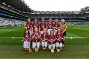 3 September 2017; The Galway team, back row, left to right, Isobel Moore of Geevagh National School, Geevagh, Co Sligo, Rebecca Hamill of Clontibret National School, Monaghan, Sara Ní Chormaic of Gaelscoil na Bóinne, Trim, Co Meath, Áine Arthur of Primate Dixon P.S., Coalisland, Co Tyrone, Ella Heary of St Marnocks National School, Portmarnock, Dublin, referee Katelynn Fitzgerald, from Glenville National School, Glenville, Co Cork, front row, left to right, Alex Hodgins of Presentation Primary School, Terenure Road, Dublin, Caitlin Johnston of St John the Baptist P.S., Belleek, Fermanagh, Laura Maguire of Scoil Chlann Naofa, Ballinamore, Co Leitrim, Andrea Fallon of Runnamoate National School, Ballinaheglish, Co Roscommon, Ciara Keogh of St. Mary's National School, Mullingar, Co Westmeath, ahead of the GAA Hurling All-Ireland Senior Championship Final match between Galway and Waterford at Croke Park in Dublin. Photo by Daire Brennan/Sportsfile